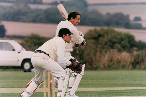 Chris de Mellow keeps wicket to Derek Randall in the All England fixture in 1994