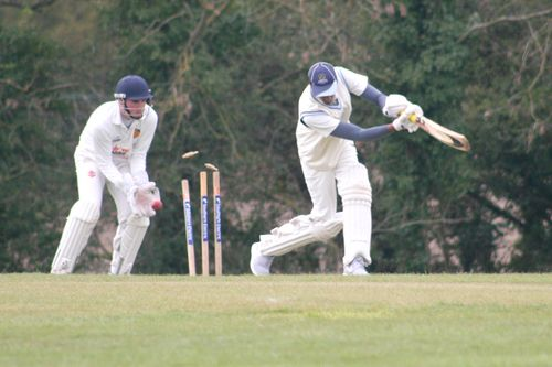 Bails fly as Prad's off stump is pegged back